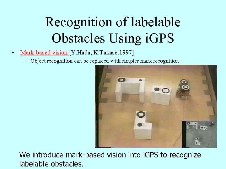Recognition of labelable Obstacles Using i. GPS • Mark-based vision [Y. Hada, K. Takase: