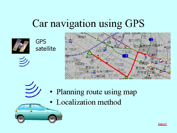 Car navigation using GPS satellite • Planning route using map • Localization method Return