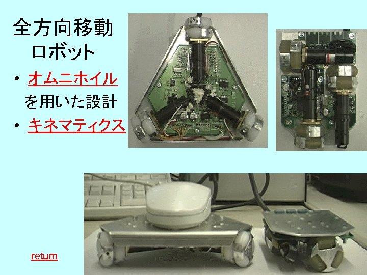 全方向移動 ロボット • オムニホイル  を用いた設計 • キネマティクス   return