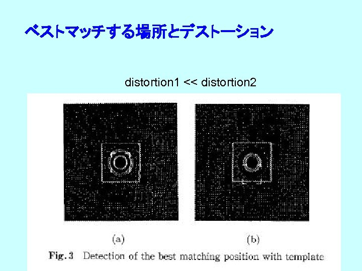 ベストマッチする場所とデストーション distortion 1 << distortion 2