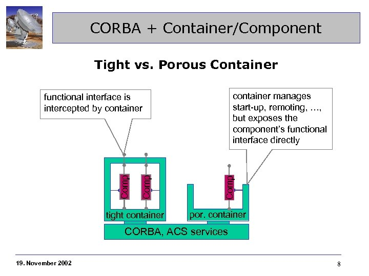CORBA + Container/Component Tight vs. Porous Container container manages start-up, remoting, …, but exposes