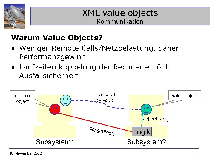 XML value objects Kommunikation Warum Value Objects? • Weniger Remote Calls/Netzbelastung, daher Performanzgewinn •