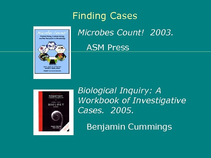 Finding Cases Microbes Count! 2003. ASM Press Biological Inquiry: A Workbook of Investigative Cases.