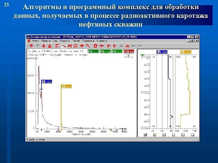 23 Алгоритмы и программный комплекс для обработки данных, получаемых в процессе радиоактивного каротажа нефтяных