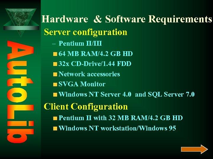 Hardware & Software Requirements Server configuration – Pentium II/III 64 MB RAM/4. 2 GB
