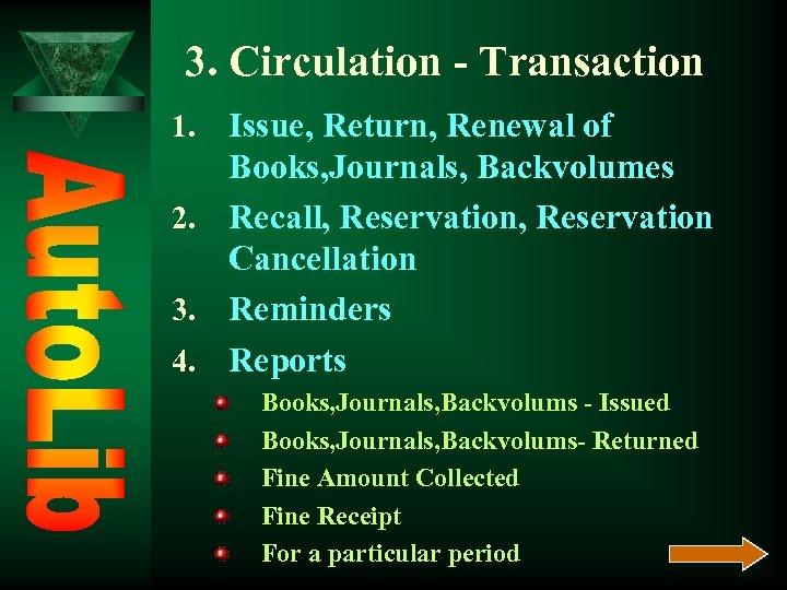 3. Circulation - Transaction Issue, Return, Renewal of Books, Journals, Backvolumes 2. Recall, Reservation