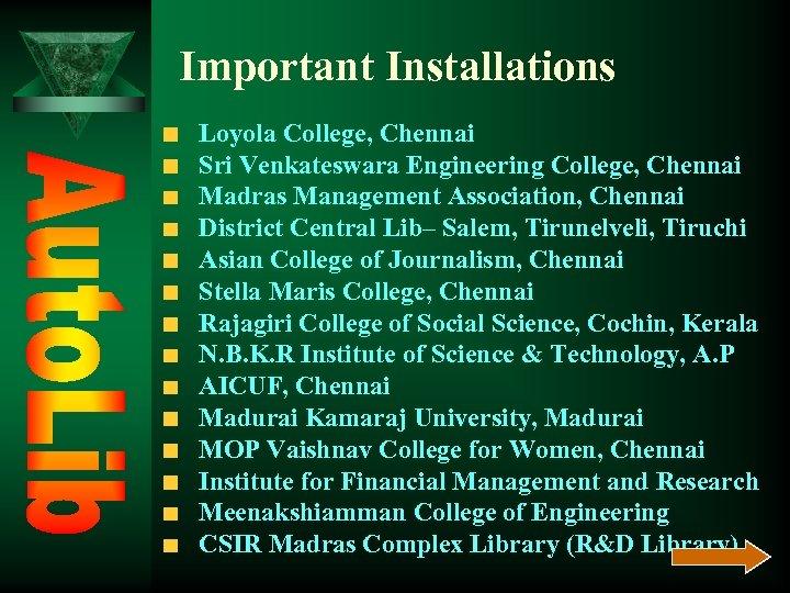 Important Installations Loyola College, Chennai Sri Venkateswara Engineering College, Chennai Madras Management Association, Chennai