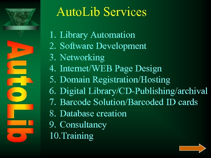 Auto. Lib Services 1. Library Automation 2. Software Development 3. Networking 4. Internet/WEB Page