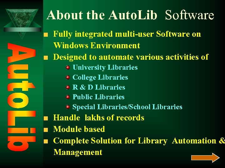 About the Auto. Lib Software Fully integrated multi-user Software on Windows Environment Designed to