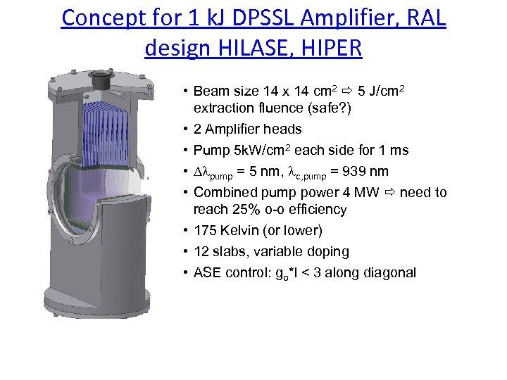 Concept for 1 k. J DPSSL Amplifier, RAL design HILASE, HIPER • Beam size