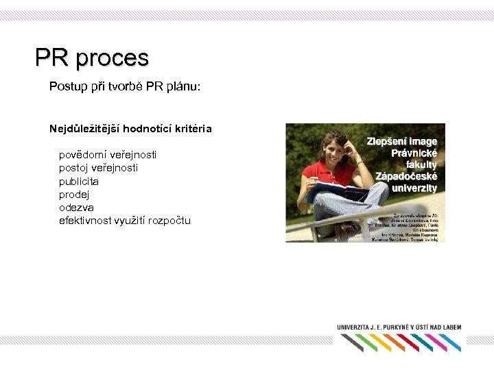 PR proces Postup při tvorbě PR plánu: Nejdůležitější hodnotící kritéria povědomí veřejnosti postoj veřejnosti
