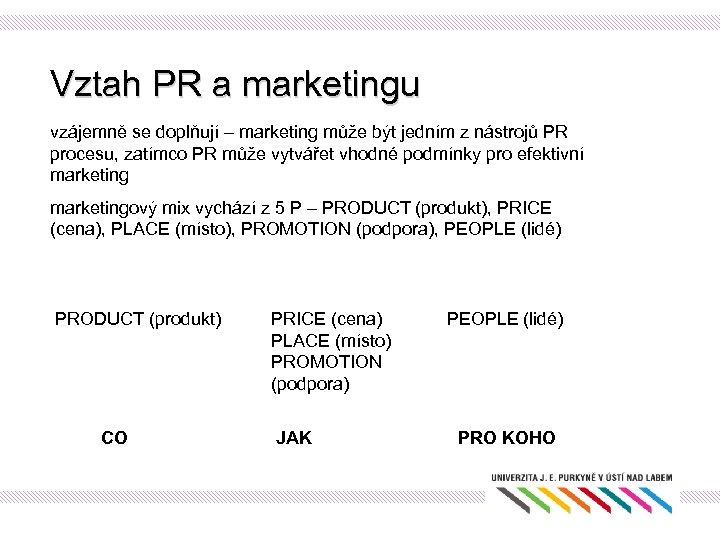 Vztah PR a marketingu vzájemně se doplňují – marketing může být jedním z nástrojů