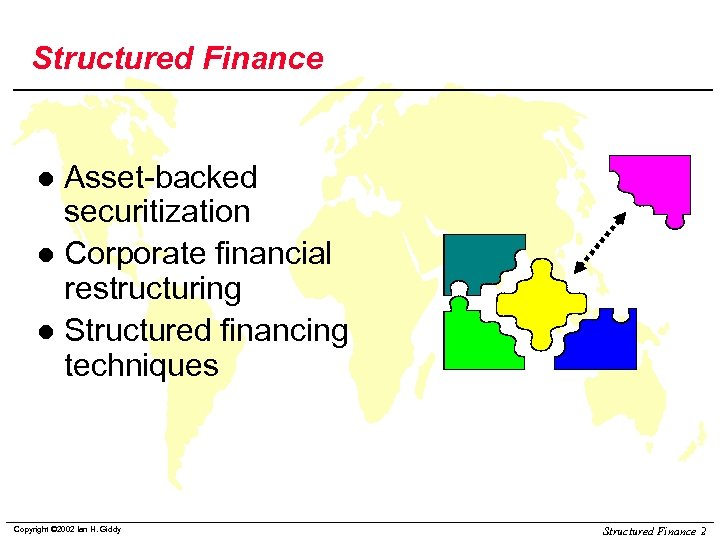 Structured Finance Asset-backed securitization l Corporate financial restructuring l Structured financing techniques l Copyright