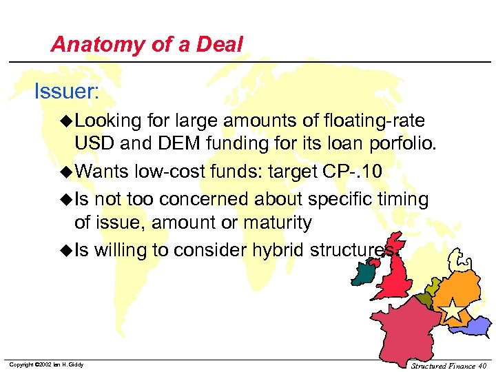 Anatomy of a Deal Issuer: u. Looking for large amounts of floating-rate USD and