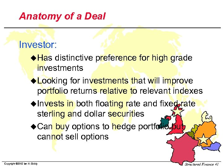 Anatomy of a Deal Investor: u. Has distinctive preference for high grade investments u.