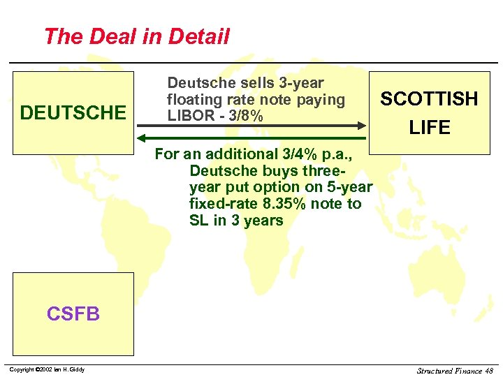 The Deal in Detail DEUTSCHE Deutsche sells 3 -year floating rate note paying LIBOR