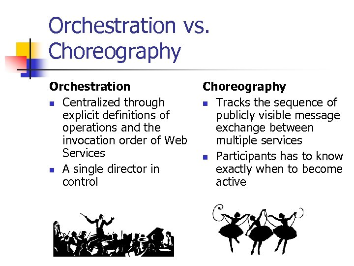 Orchestration vs. Choreography Orchestration n Centralized through explicit definitions of operations and the invocation