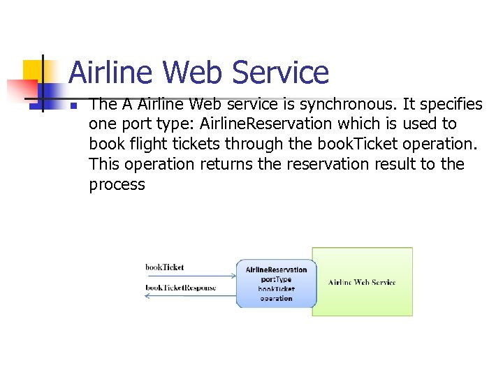 Airline Web Service n The A Airline Web service is synchronous. It specifies one