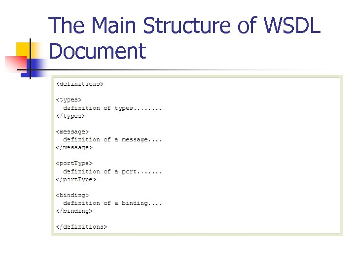 The Main Structure of WSDL Document