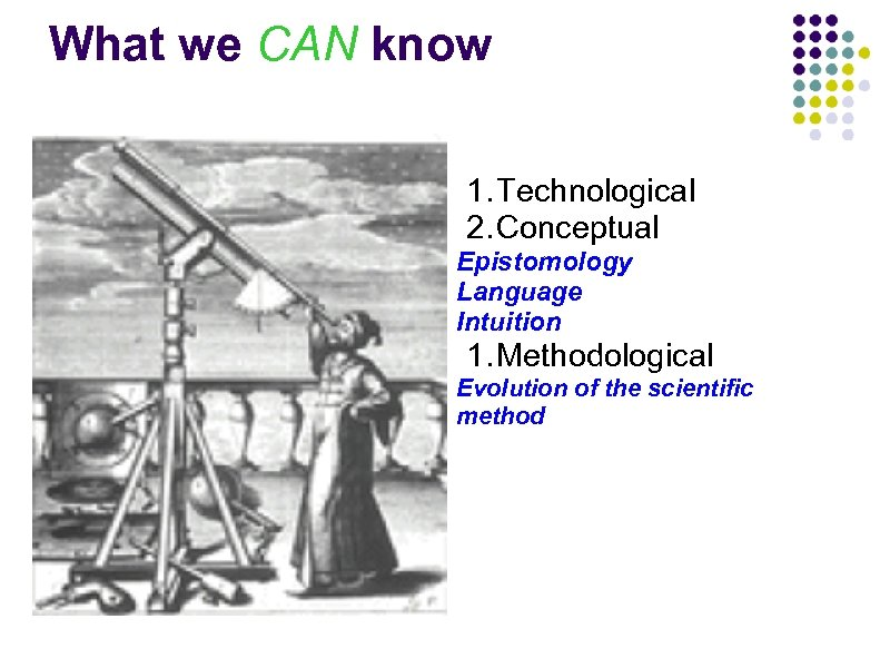 What we CAN know 1. Technological 2. Conceptual Epistomology Language Intuition 1. Methodological Evolution