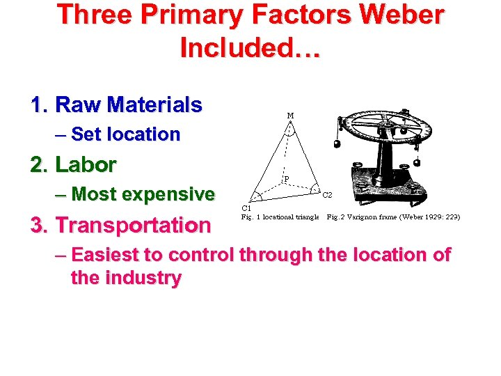 Three Primary Factors Weber Included… 1. Raw Materials – Set location 2. Labor –