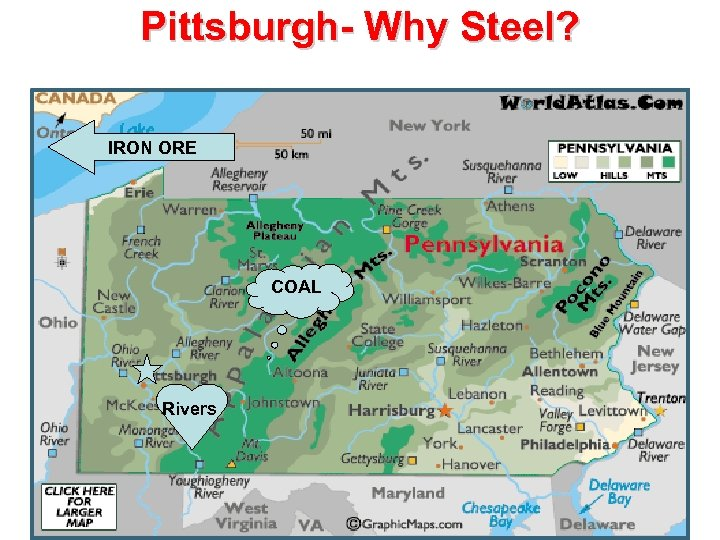 Pittsburgh- Why Steel? IRON ORE COAL Rivers