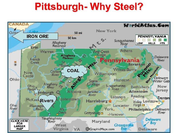 Pittsburgh- Why Steel? IRON ORE COAL Rivers