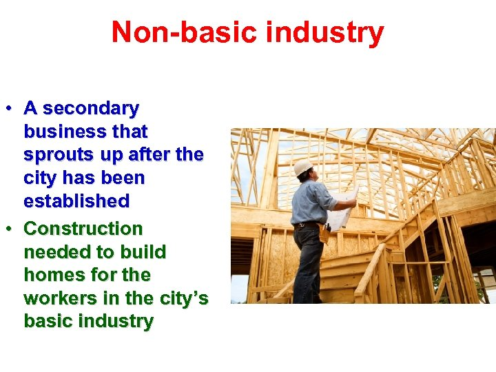 Non-basic industry • A secondary business that sprouts up after the city has been