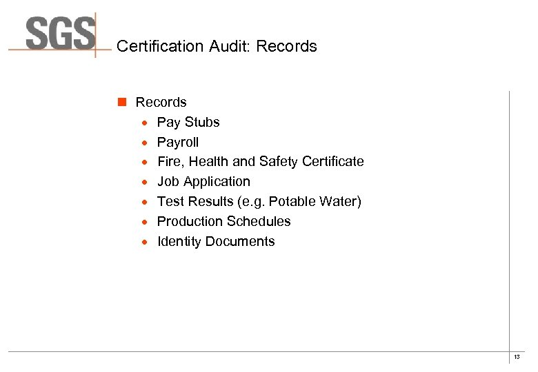 Certification Audit: Records n Records · Pay Stubs · Payroll · Fire, Health and
