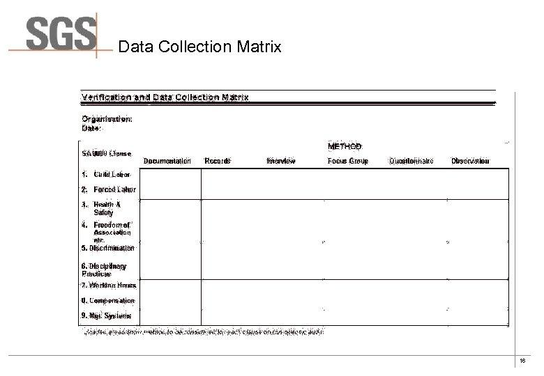 Data Collection Matrix 16