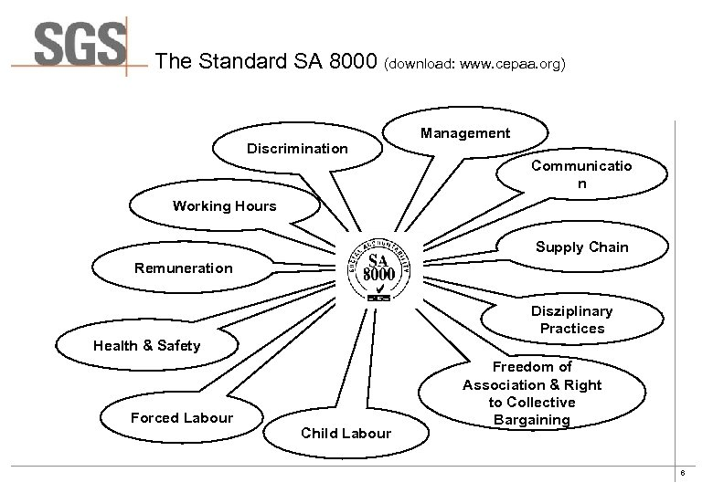 The Standard SA 8000 (download: www. cepaa. org) Discrimination Management Communicatio n Working Hours