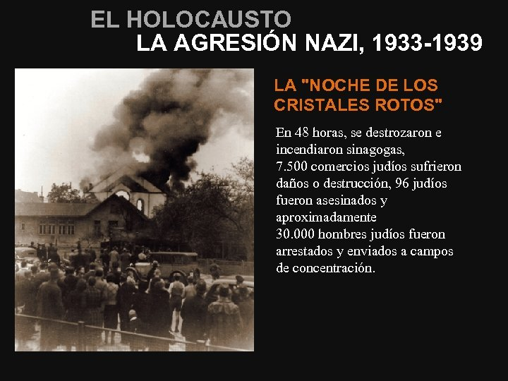 EL HOLOCAUSTO LA AGRESIÓN NAZI, 1933 -1939 LA