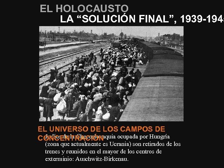 """EL HOLOCAUSTO LA """"SOLUCIÓN FINAL"""", 1939 -1945 EL UNIVERSO DE LOS CAMPOS DE Judíos"""