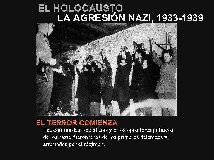 EL HOLOCAUSTO LA AGRESIÓN NAZI, 1933 -1939 EL TERROR COMIENZA Los comunistas, socialistas y