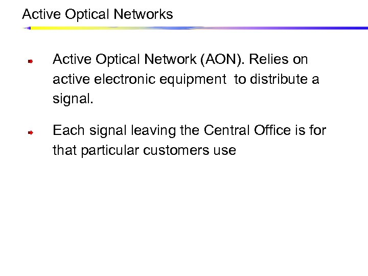 Active Optical Networks Active Optical Network (AON). Relies on active electronic equipment to distribute