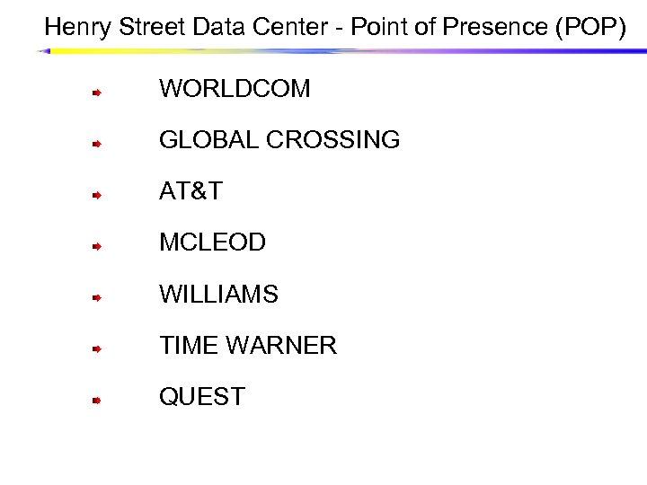 Henry Street Data Center - Point of Presence (POP) WORLDCOM GLOBAL CROSSING AT&T MCLEOD