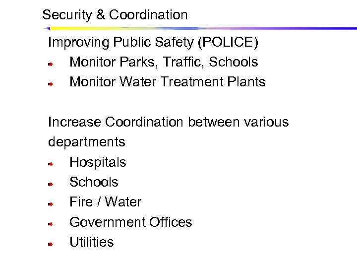 Security & Coordination Improving Public Safety (POLICE) Monitor Parks, Traffic, Schools Monitor Water Treatment