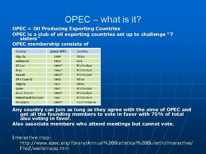 OPEC – what is it? OPEC = Oil Producing Exporting Countries OPEC is a