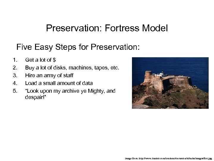 Preservation: Fortress Model Five Easy Steps for Preservation: 1. 2. 3. 4. 5. Get