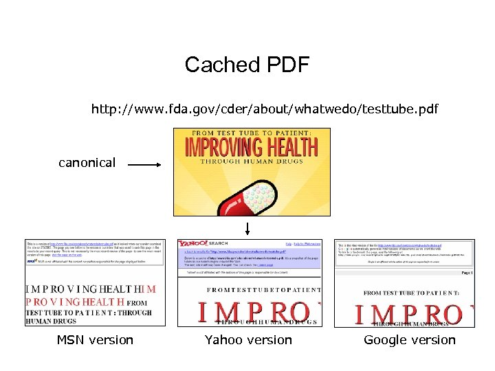Cached PDF http: //www. fda. gov/cder/about/whatwedo/testtube. pdf canonical MSN version Yahoo version Google version