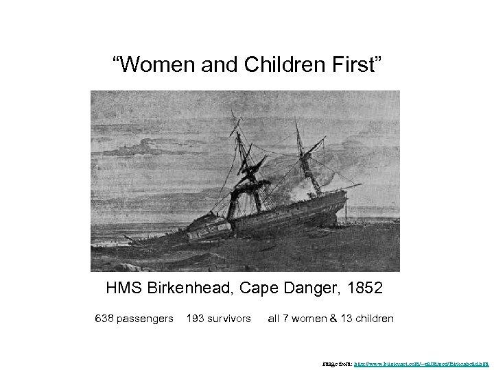 """""""Women and Children First"""" HMS Birkenhead, Cape Danger, 1852 638 passengers 193 survivors all"""