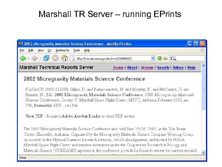 Marshall TR Server – running EPrints