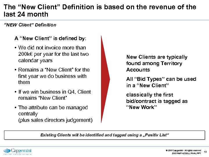 """The """"New Client"""" Definition is based on the revenue of the last 24 month"""