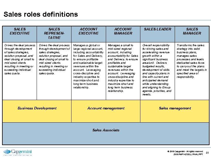 Sales roles definitions SALES EXECUTIVE SALES REPRESENTATIVE ACCOUNT EXECUTIVE ACCOUNT MANAGER SALES LEADER SALES