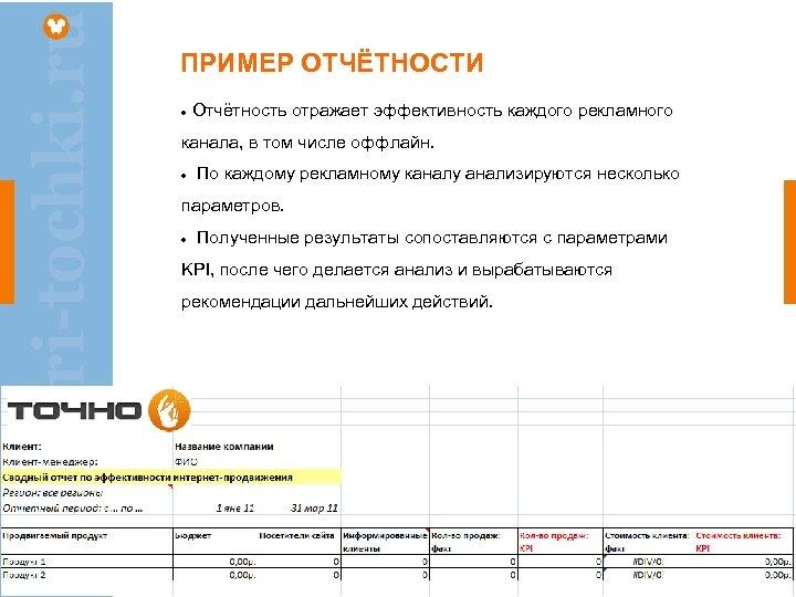 ПРИМЕР ОТЧЁТНОСТИ Отчётность отражает эффективность каждого рекламного канала, в том числе оффлайн. По каждому
