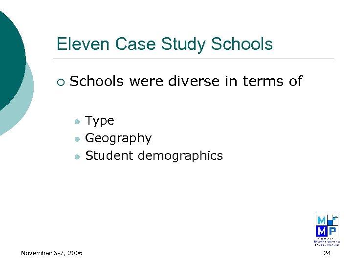 Eleven Case Study Schools ¡ Schools were diverse in terms of l l l