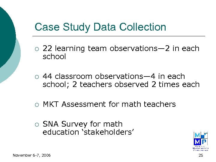 Case Study Data Collection ¡ 22 learning team observations— 2 in each school ¡