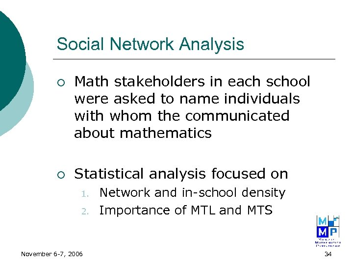 Social Network Analysis ¡ ¡ Math stakeholders in each school were asked to name