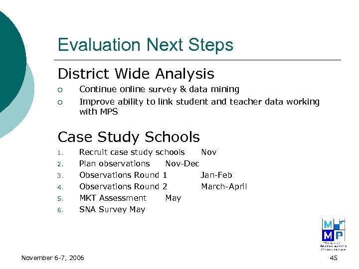 Evaluation Next Steps District Wide Analysis ¡ ¡ Continue online survey & data mining