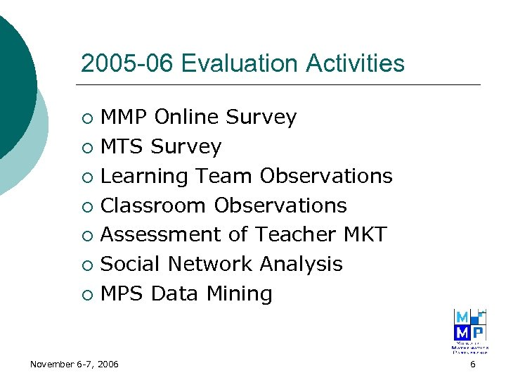 2005 -06 Evaluation Activities MMP Online Survey ¡ MTS Survey ¡ Learning Team Observations